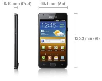 Samsung Galaxy S2 medidas